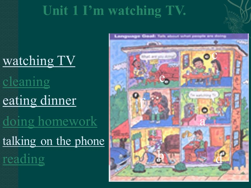 Unit 1 I'm watching TV. c watching TV e cleaning eating dinner f