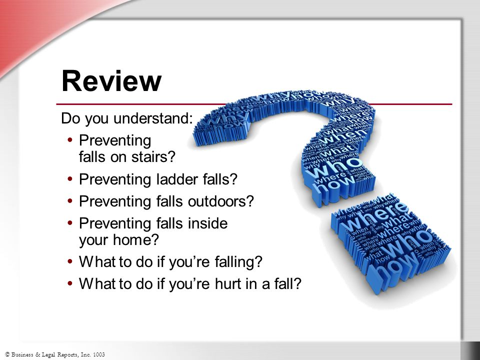 Review Do you understand: Preventing falls on stairs