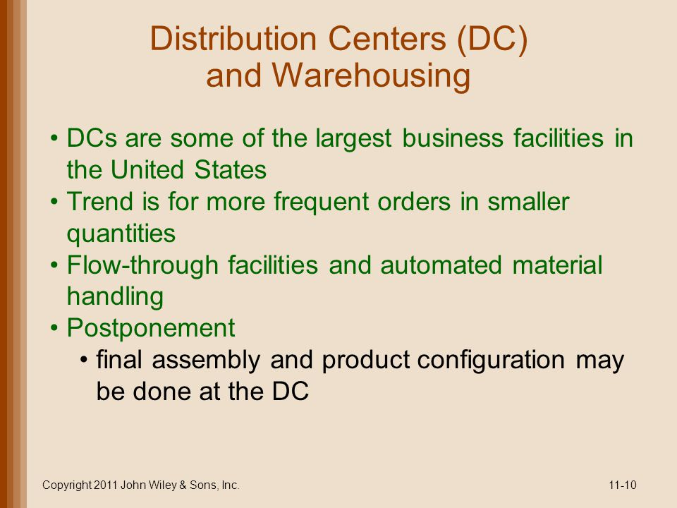Distribution Centers (DC) and Warehousing