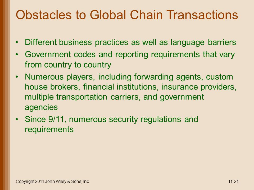 Obstacles to Global Chain Transactions