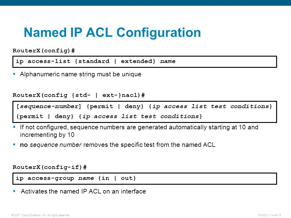 Named IP ACL Configuration