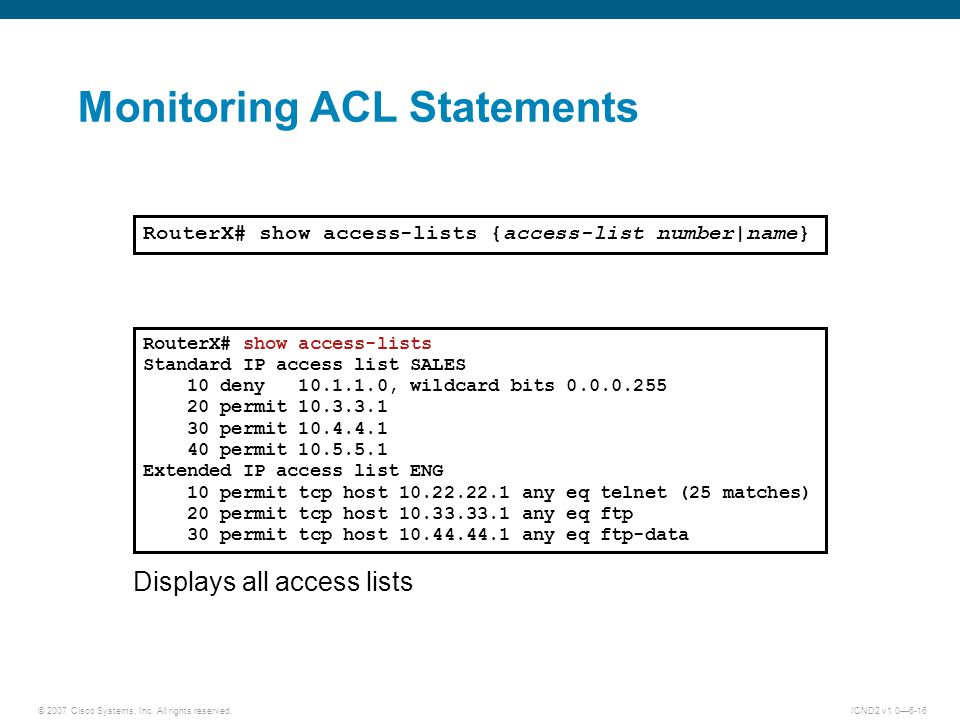 Monitoring ACL Statements