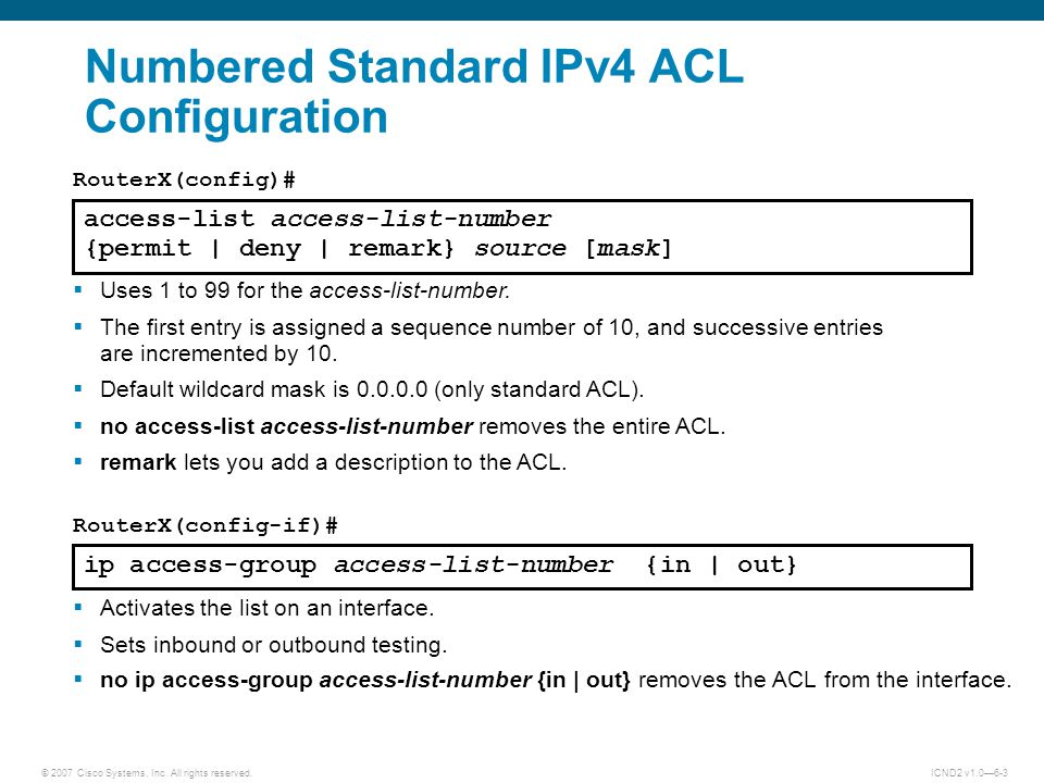 Numbered Standard IPv4 ACL Configuration