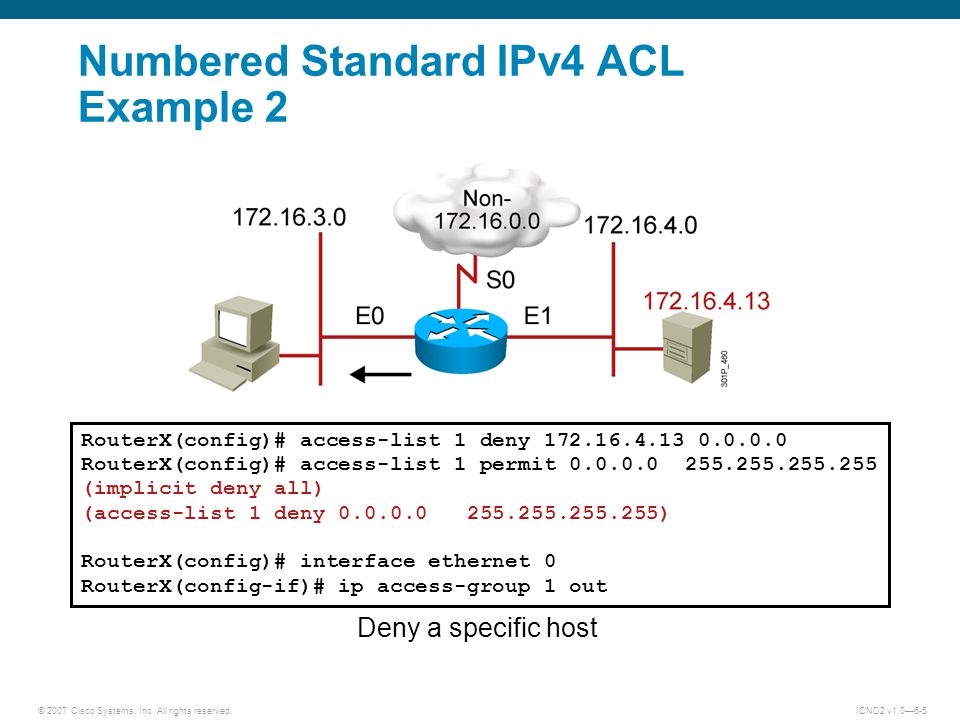 Numbered Standard IPv4 ACL Example 2