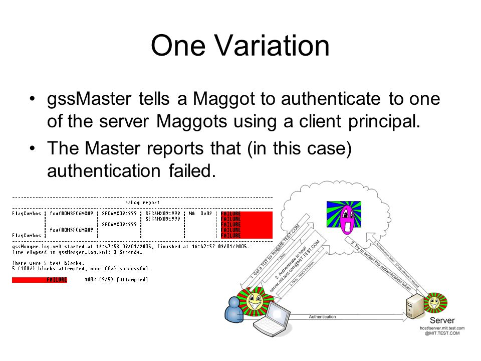 One Variation gssMaster tells a Maggot to authenticate to one of the server Maggots using a client principal.