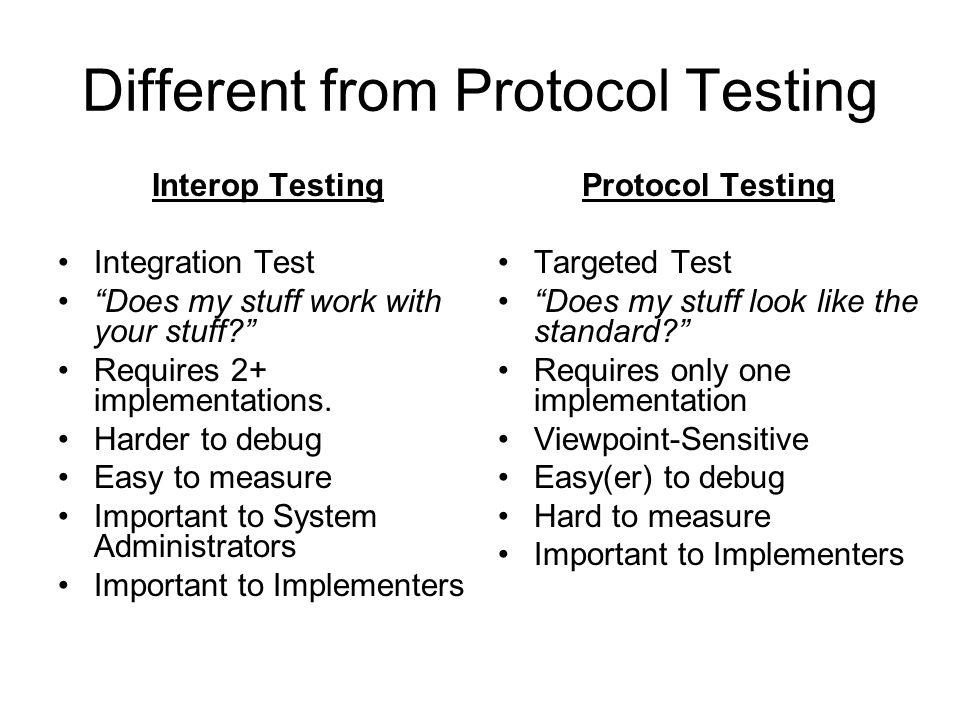 Different from Protocol Testing