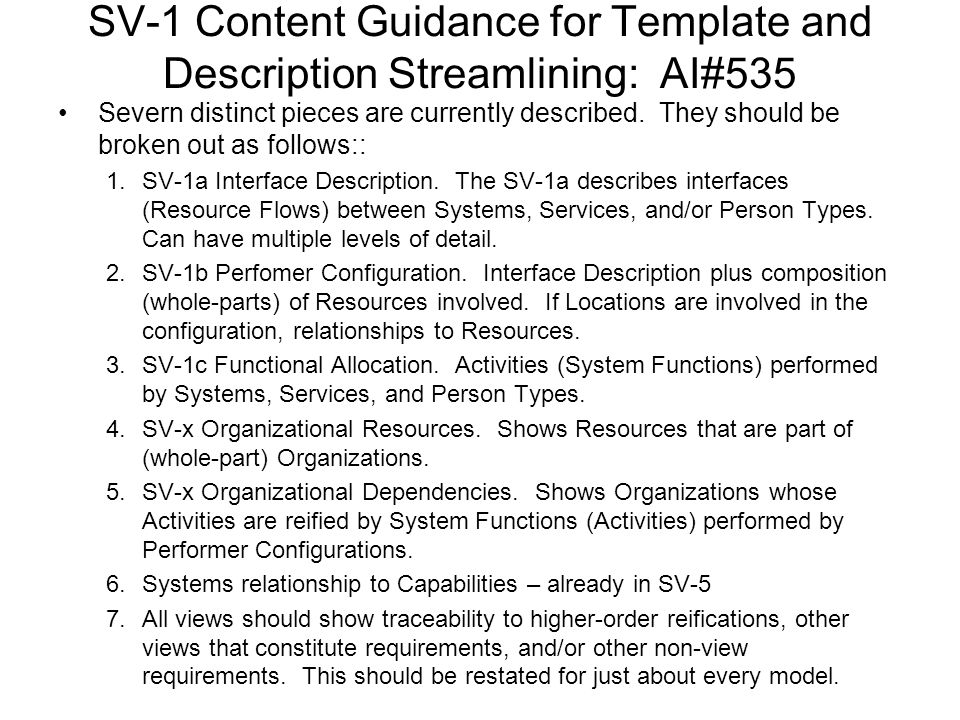 SV-1 Content Guidance for Template and Description Streamlining: AI#535