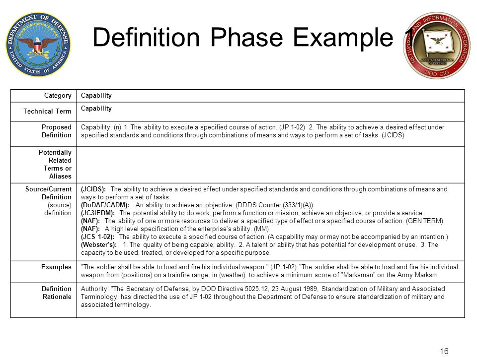 Definition Phase Example 1