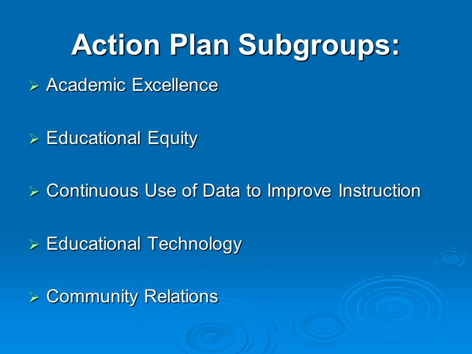 Action Plan Subgroups: