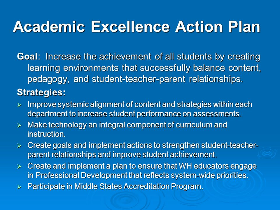 Academic Excellence Action Plan