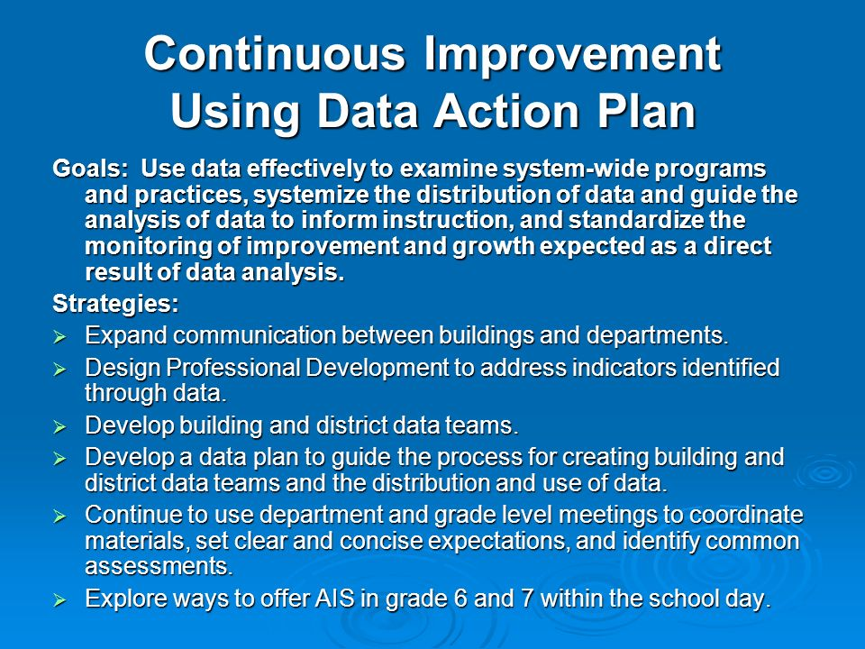 Continuous Improvement Using Data Action Plan