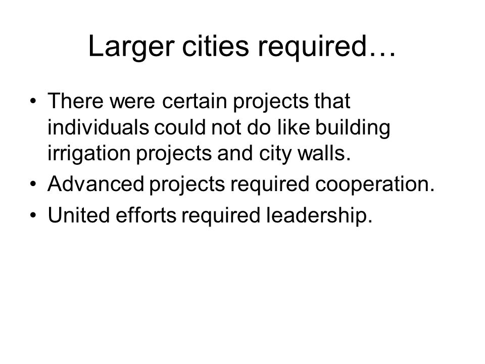 Larger cities required…