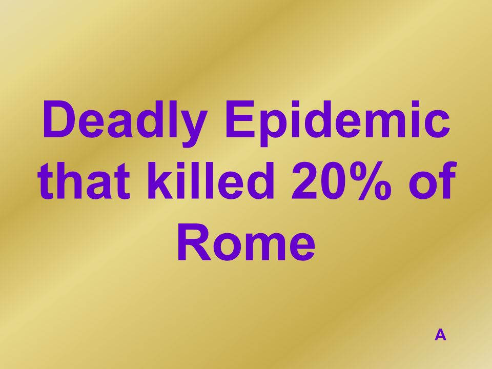 Deadly Epidemic that killed 20% of Rome
