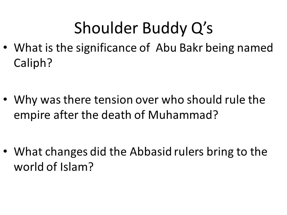 Shoulder Buddy Q's What is the significance of Abu Bakr being named Caliph