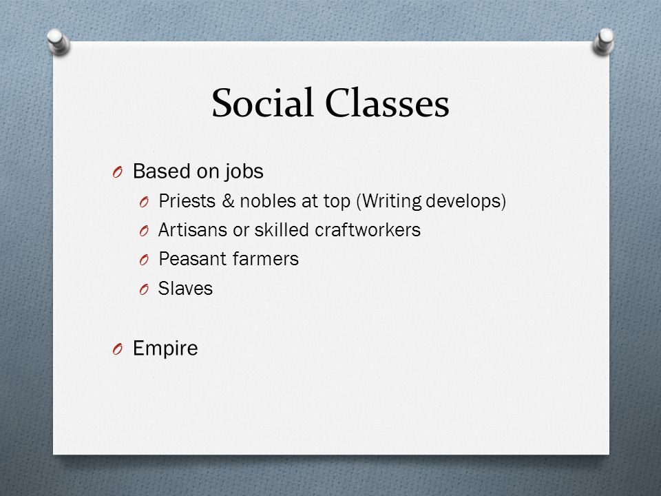 Social Classes Based on jobs Empire