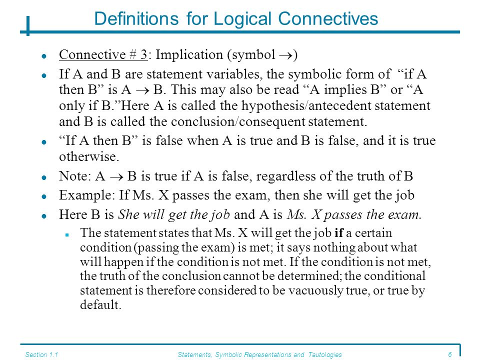 Definitions for Logical Connectives