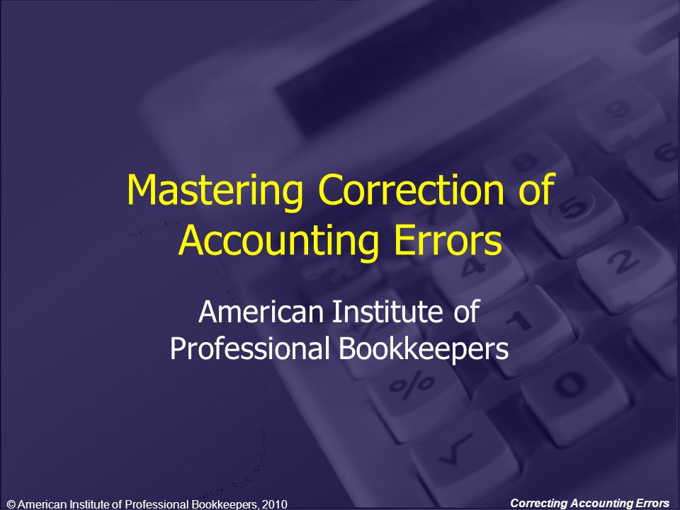 Mastering Correction of Accounting Errors