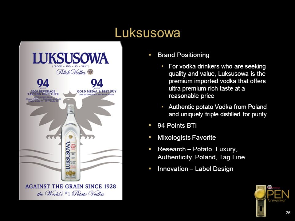 Luksusowa Brand Positioning 94 Points BTI Mixologists Favorite