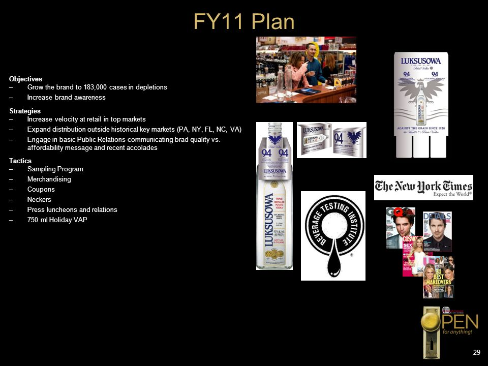 FY11 Plan FY11 MARKETING PLAN Objectives