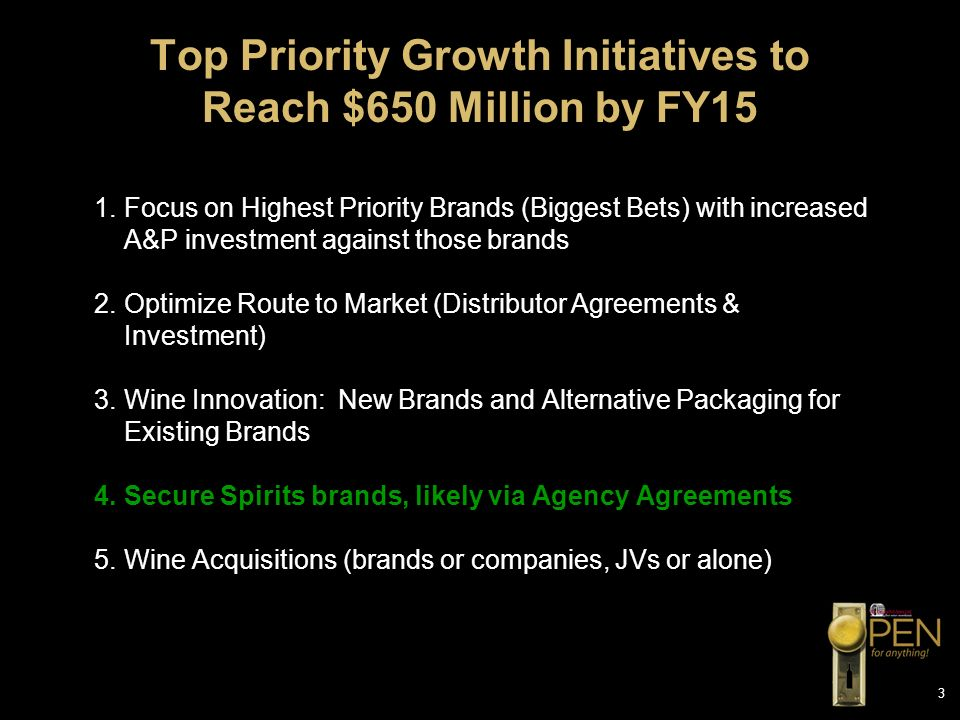 Top Priority Growth Initiatives to Reach $650 Million by FY15