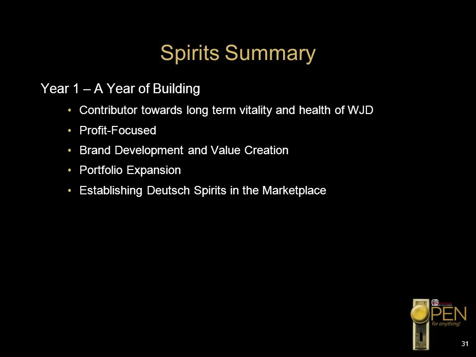 Spirits Summary Year 1 – A Year of Building