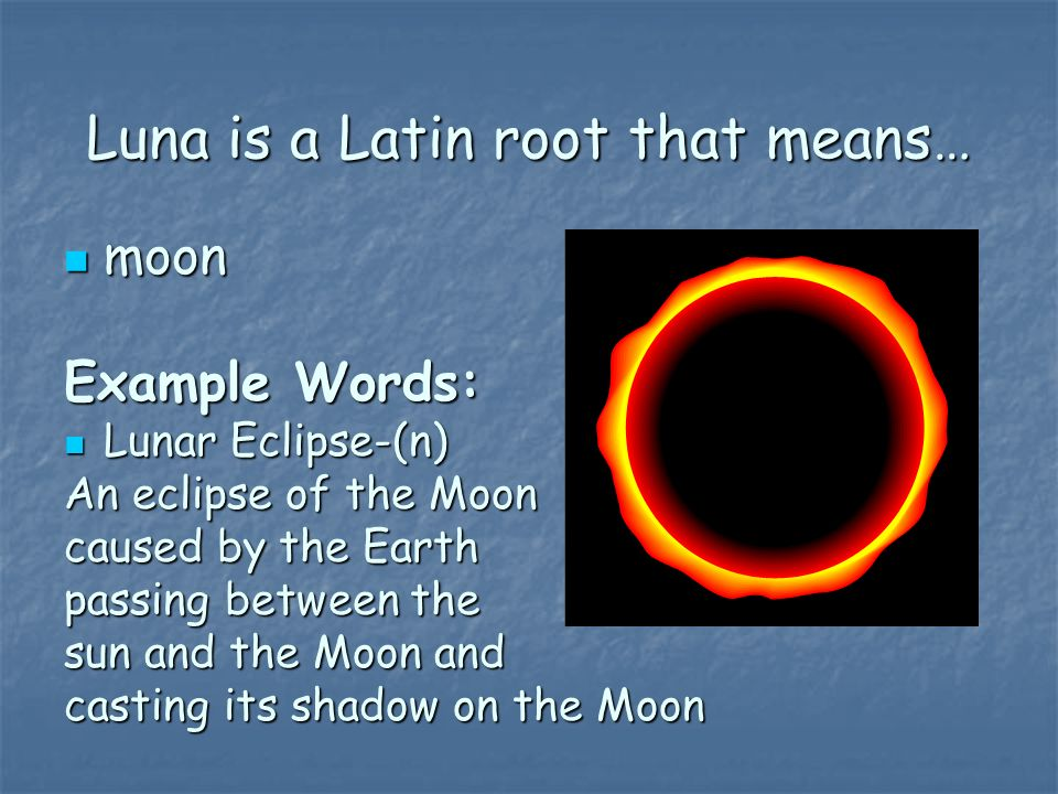 Luna is a Latin root that means…