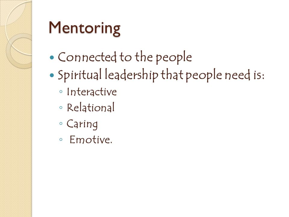 Mentoring Connected to the people