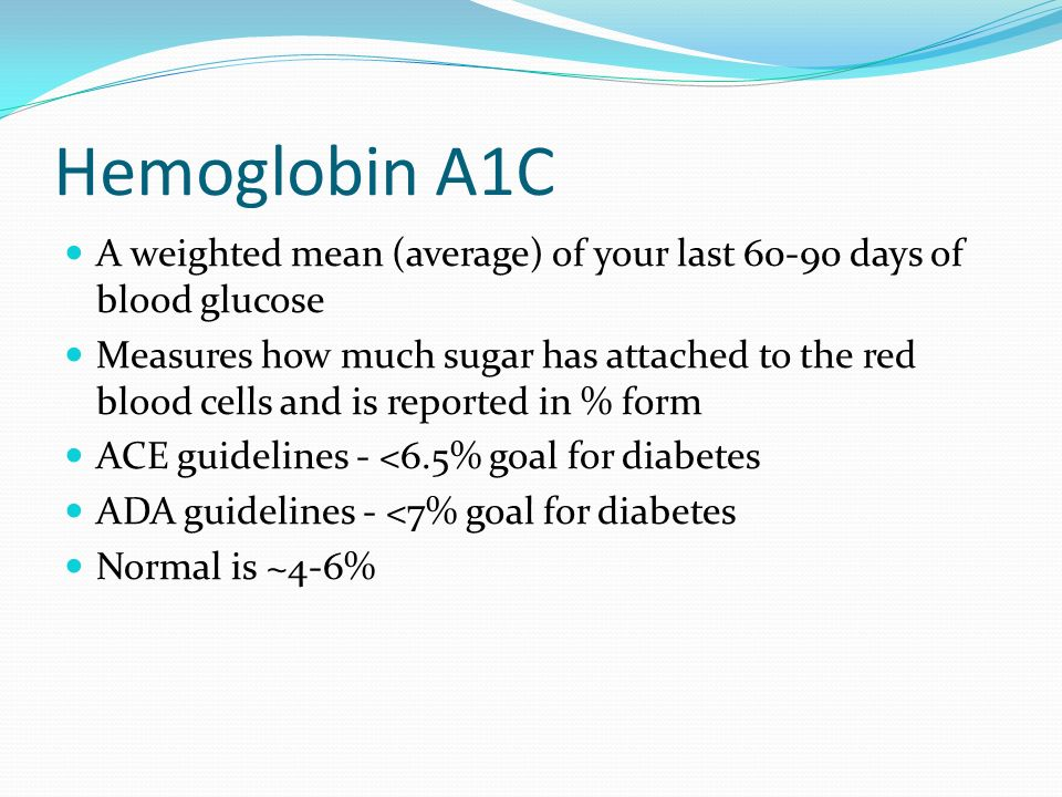 Hemoglobin A1C A weighted mean (average) of your last 60-90 days of blood glucose.