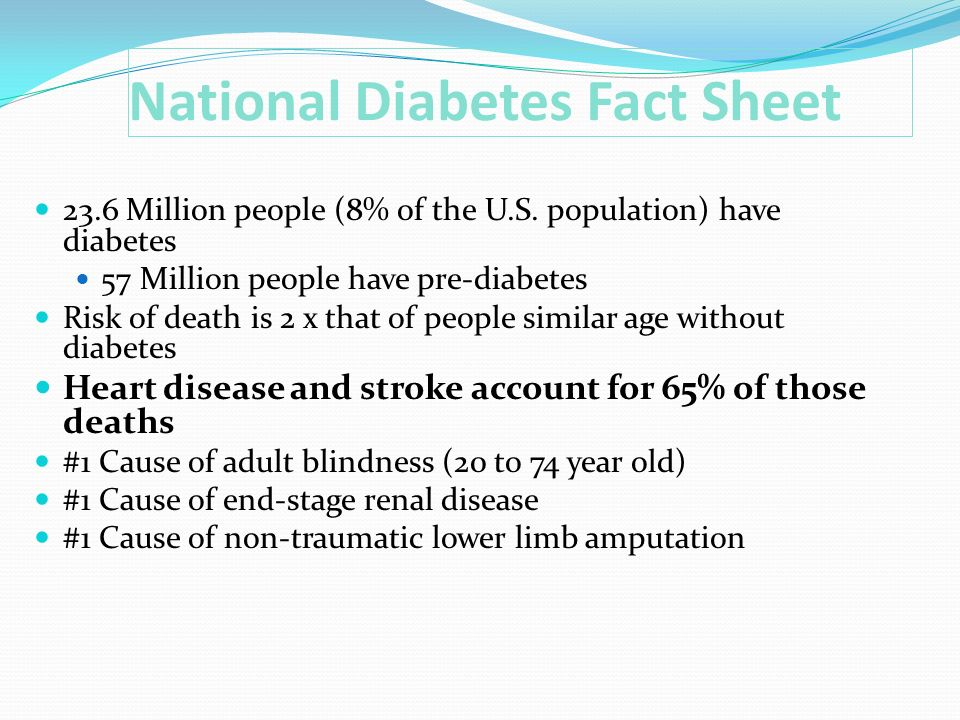 National Diabetes Fact Sheet