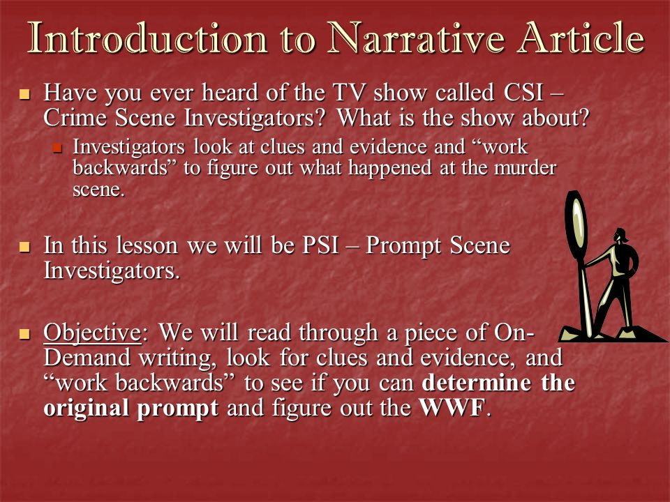 Introduction to Narrative Article