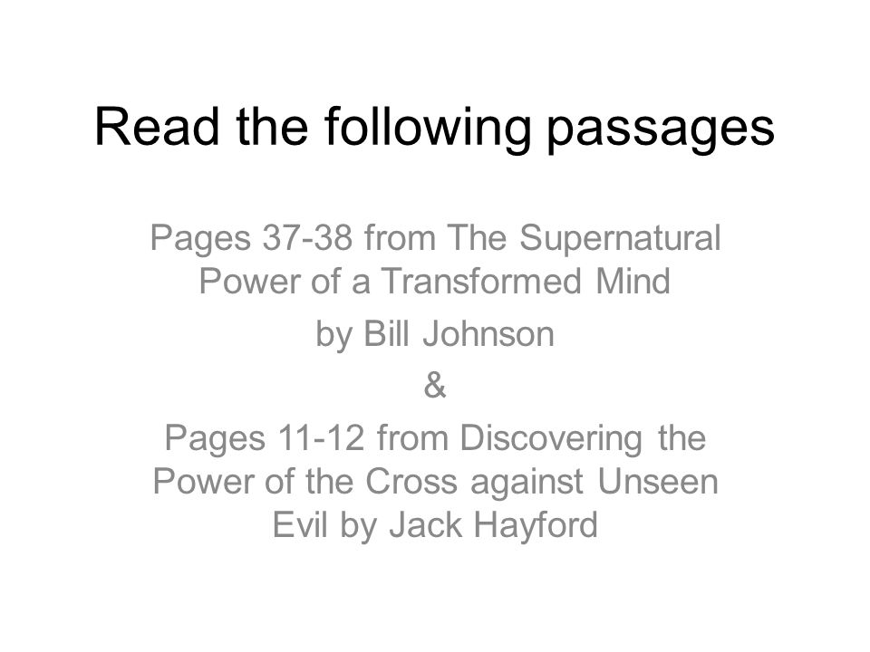 Read the following passages