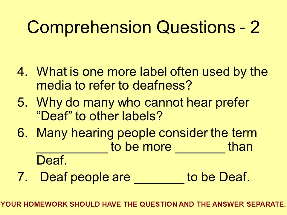 Comprehension Questions - 2