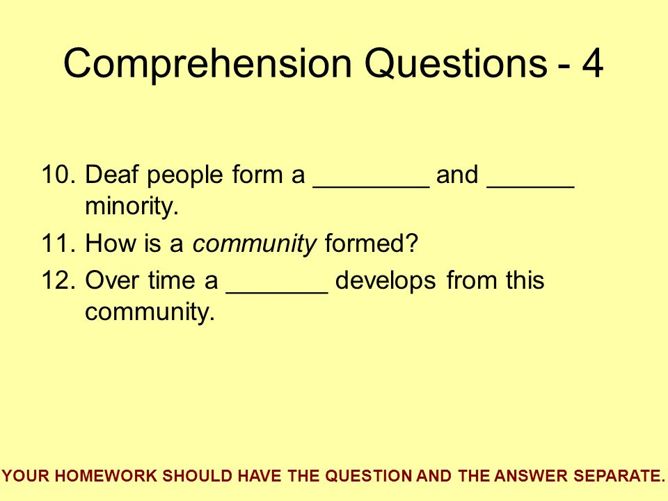 Comprehension Questions - 4