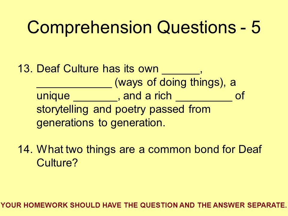 Comprehension Questions - 5