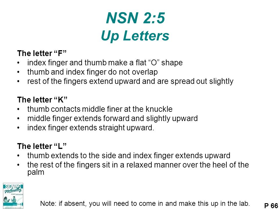 NSN 2:5 Up Letters The letter F