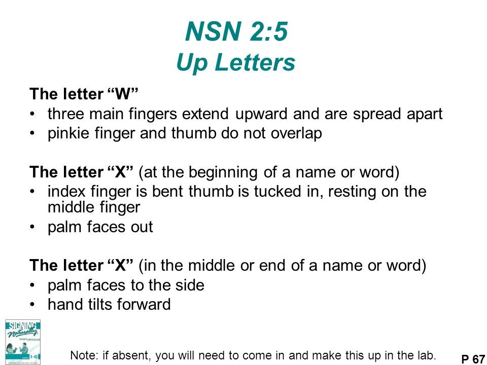 NSN 2:5 Up Letters The letter W