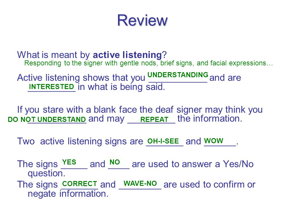 Review What is meant by active listening