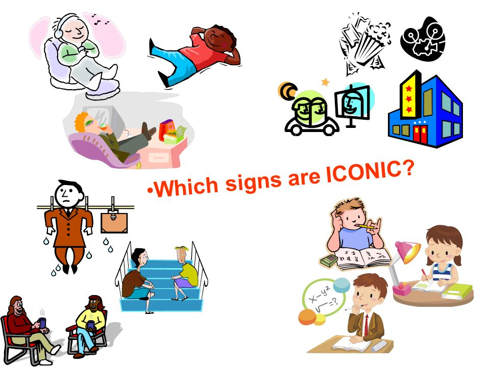 Which signs are ICONIC Take it easy (kick back), go to movies, hangout, shat, study, homework, 303