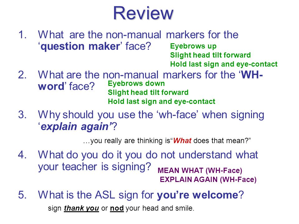 Review What are the non-manual markers for the 'question maker' face