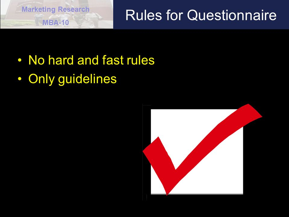 Rules for Questionnaire