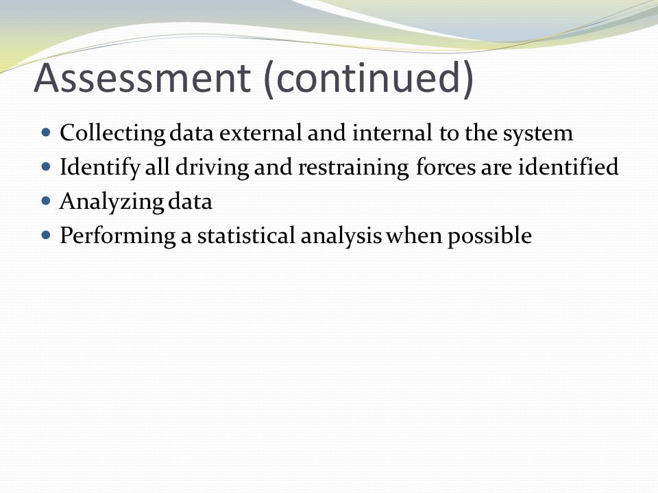 Assessment (continued)