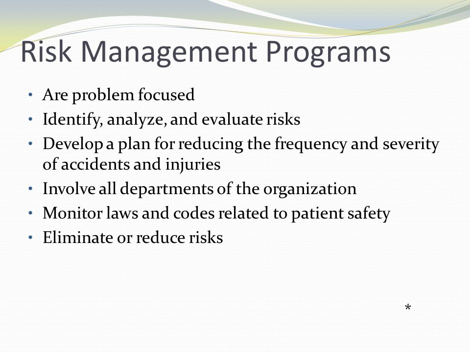 Risk Management Programs