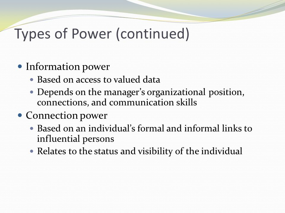 Types of Power (continued)