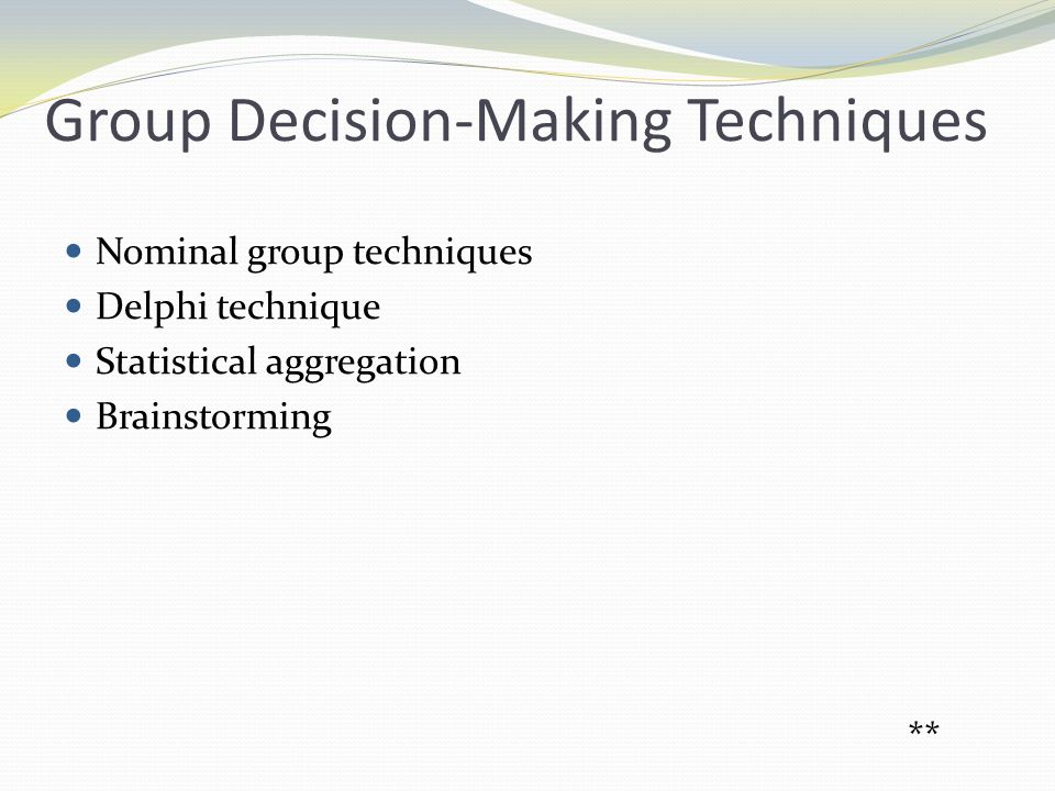 Group Decision-Making Techniques