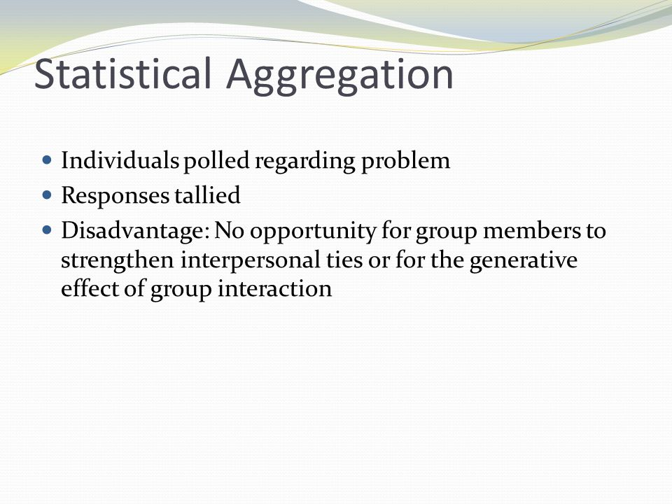 Statistical Aggregation