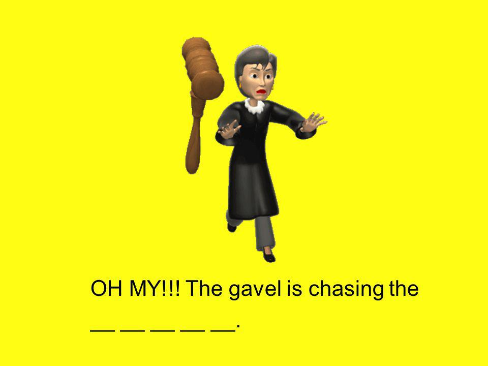 OH MY!!! The gavel is chasing the