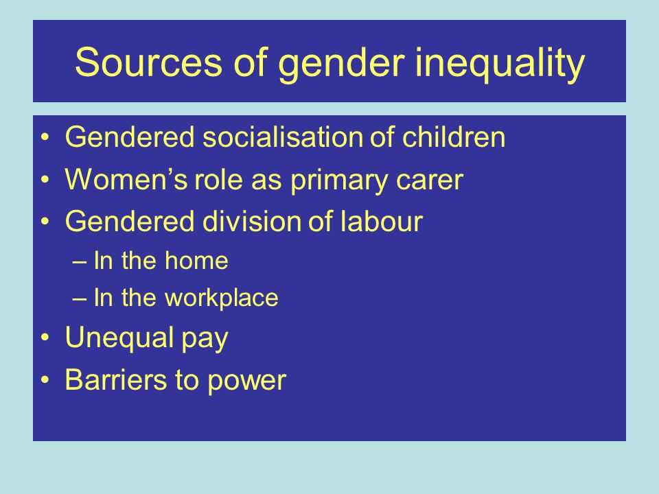 Sources of gender inequality