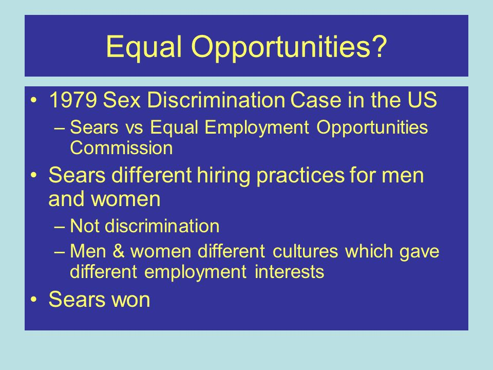 Equal Opportunities 1979 Sex Discrimination Case in the US