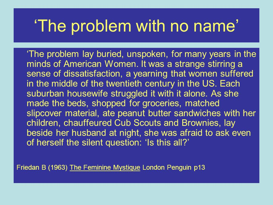 'The problem with no name'
