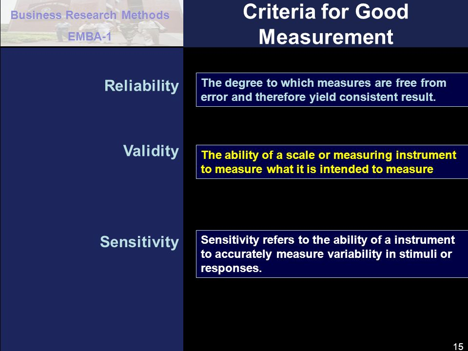 Criteria for Good Measurement